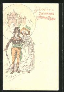Künstler-AK Vaud, Centenaire de l'Indépendance Vaudoise, Altes Paar