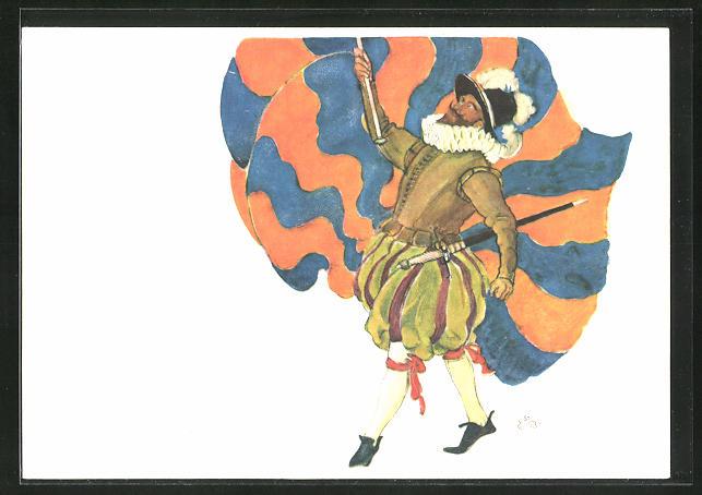 Künstler-AK Vevey, Fete des Vignerons 1927, Porte-Drapeau des Suisses