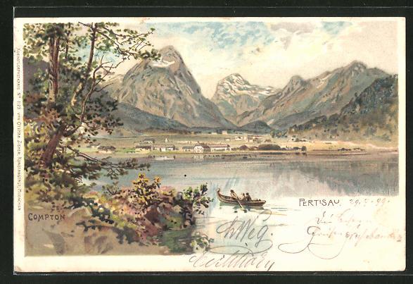 Künstler-AK Edward Theodore Compton: Pertisau, Ortsansicht mit Bergpanorama