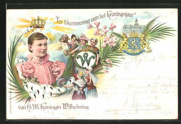 Lithographie Ter Herinnering aan het Kroningsjaar van H.M. Koningin Wilhelmina von den Niederlanden