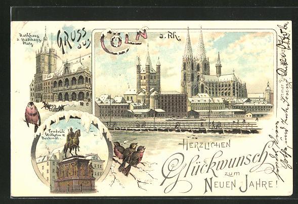 Winter-Lithographie Köln a. Rh., Rathhaus und Stadthags-Platz, Friedrich Wilhelm III. Denkmal, Totalansicht mit Dom