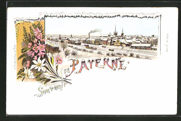 Winter-Lithographie Payerne, Totalansicht aus der Vogelschau