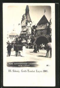 AK III. Schweiz. Grütli-Turnfest Luzern 1901, und Eidg. Schützenfest Luzern