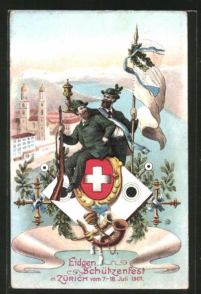 AK Zürich, Eidgen. Schützenfest 1907, Schützenverein mit Pokal und wehender Flagge