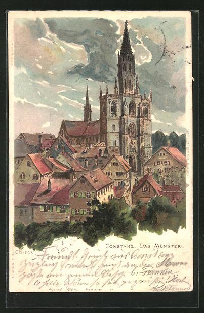 Künstler-AK Carl Biese: Constanz, Münster im Stadtbild