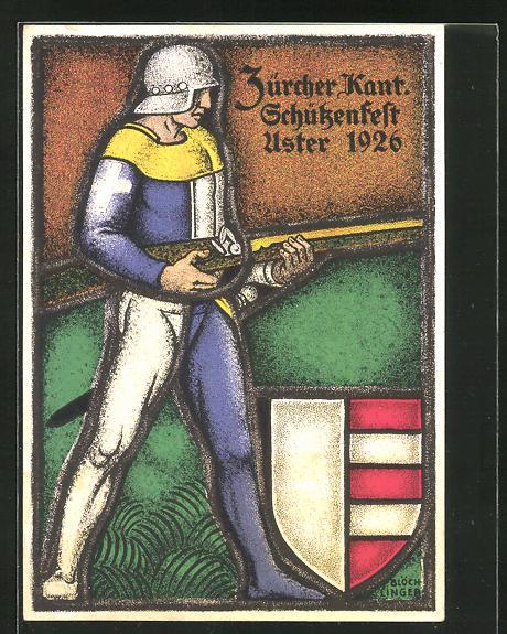Künstler-AK Uster, Zürcher Kantonales Schützenfest 1926, Schütze mit Muskete