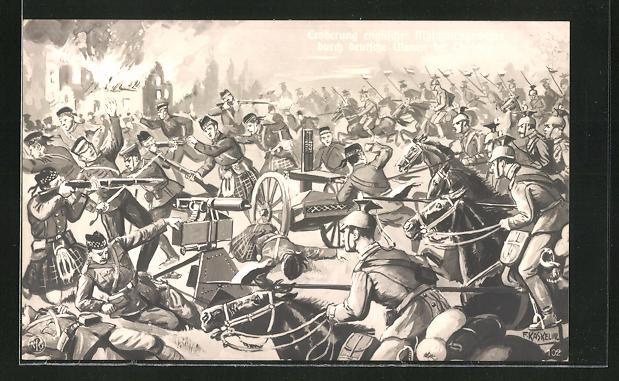 Künstler-AK Friedrich Kaskeline: Eroberung englischer Maschinengewehre durch deutsche Ulanen