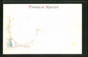 Präge-Lithographie Lucerne, Reklame Chocolat Kohler, Wappen & Monument du Lion
