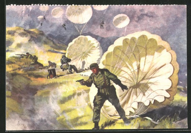 Künstler-AK Fallschirmjäger landen auf Kreta