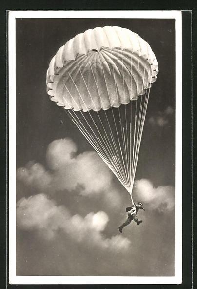 AK Fallschirmjäger bei der Landung
