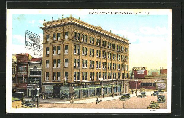 AK Schenectady, NY, Masonic Temple, Freimaurerloge