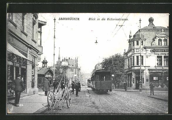 AK Saarbrücken, Strassenbahn in der Victoriastrasse