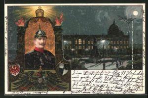 Lithographie Berlin, Kgl. Schloss, Portrait Kaiser Wilhelm II.