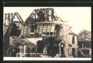 AK Oppau, zerstörte Häuser durch die Dampfkesselexplosion 1921