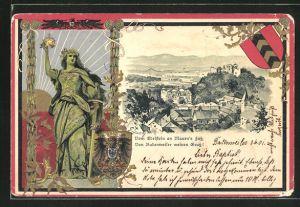 Passepartout-Lithographie Badenweiler, Gesamtansicht aus der Vogelschau, Frau mit Krone, Schwert und Wappen