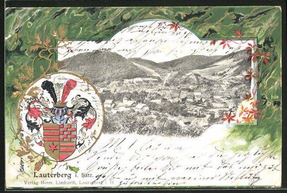 Passepartout-Lithographie Bad Lauterberg, Ortsansicht aus der Vogelschau mit Wappen