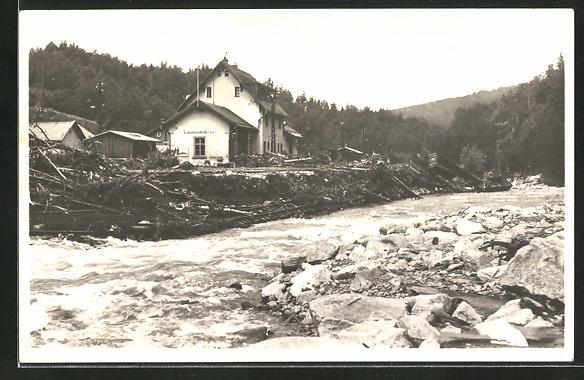 AK Lauenstein, Hochwasser am 8.7.1927, Partie am Bahnhof