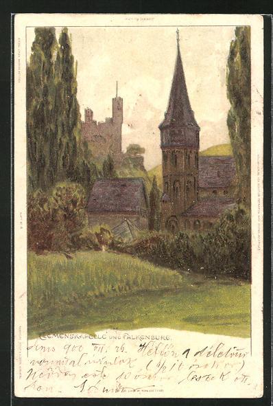Künstler-AK Carl Biese: Bingen, Clemenskapelle und Falkenburg