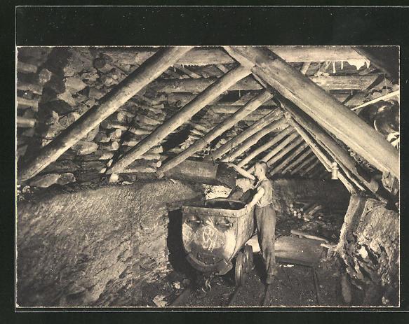 AK Ruhrkohle, Auslauf einer Schüttelrutsche, Holzausbau