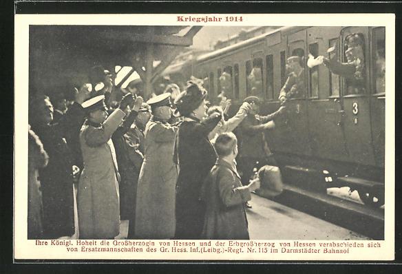 AK Die kgl. Grossherzogin und der Erbgrossherzog von Hessen verabschieden Soldaten d. Gr. Hess. Inf.(Leib.-)Reg.Nr. 115