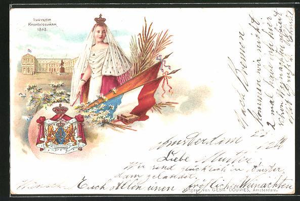 Lithographie Königin Wilhelmina von den Niederlanden im Ornat