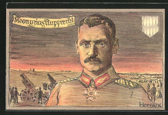 Künstler-AK Bruno Heroux: Kronprinz Rupprecht von Bayern, Schlachtfeld im Hintergrund