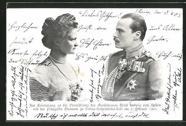 AK Erinnerung an die Vermählung d. Griossherzogs Ernst Ludwig von Hessen-Darmstadt mit Prinzessin Eleonore 1905