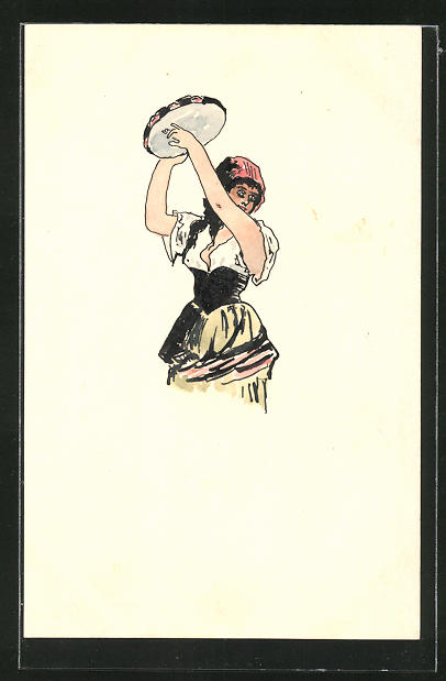 Künstler-AK Handgemalt: Temperamentvolle Zigeunerin mit Tambourin, Ganzsache