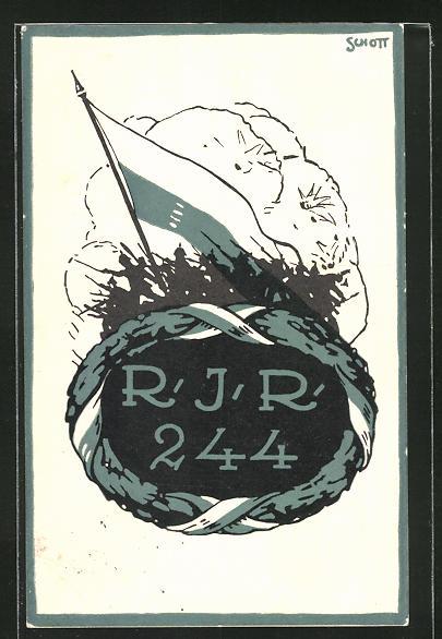 Künstler-AK sign.Schott: Inf. Regt. 244