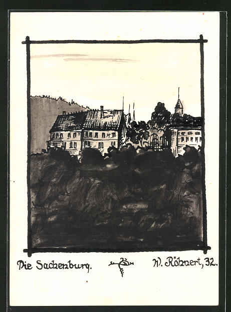 Künstler-AK Handgemalt: Frankenberg, Blick auf die Sachsenburg