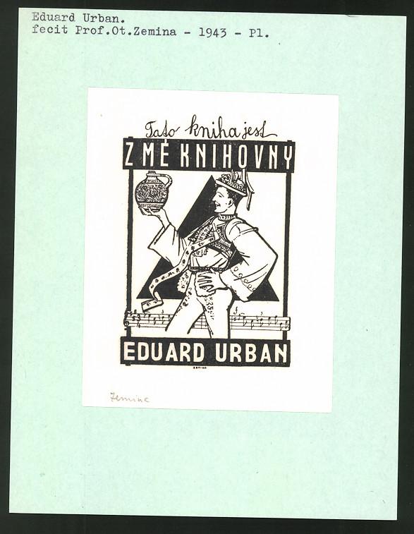 Exlibris von Prof. Ot. Zemina für Eduard Urban, Mann in Tracht hält Krug, Notenzeile