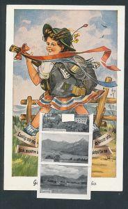Leporello-AK Füssen, Mädchen mit Rucksack & Gitarre, Ortsansicht mit Säuling