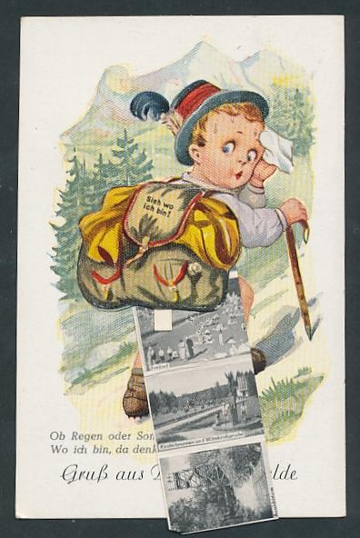 Leporello-AK Bad Rothenfelde, Wanderer mit Ansichten im Rucksack, Badehaus, Kurhaus, Kahnteich