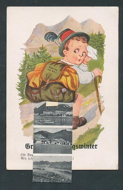 Leporello-AK Königswinter, Wanderer mit Ansichten im Rucksack, Kapelle und Drachenfels
