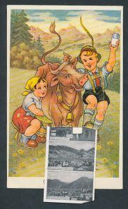 Leporello-AK Tegernsee, Kinder melken eine Kuh, Gmund, Slezak-Haus, Wiessee m. Wallberg, Blick vom Ringberg
