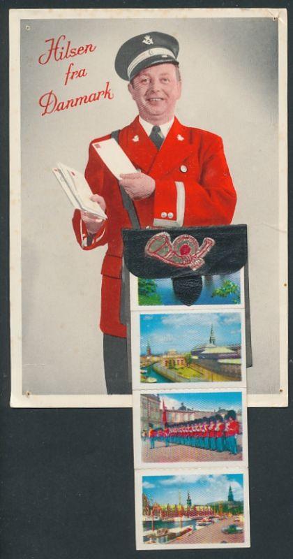 Leporello-AK Kopenhagen, Briefträger mit Brief, versch. Ansichten