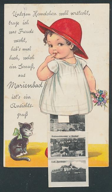 Leporello-AK Marienbad, Mädchen mit Ansichten unterm Hemdchen, Hauptstrasse, Waldquelle