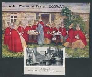 Leporello-AK Conway, Welsh Woman at Tea, Castle & Bridge, Sychnant Pass, Conway Castle, Aberconwy oldest House