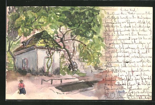 Künstler-AK Handgemalt: Bayreuth, Häuschen im Baumschatten an einer Mauer