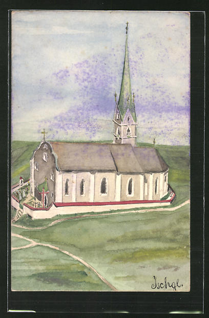 Künstler-AK Handgemalt: Ischgl, Blick auf die Kirche