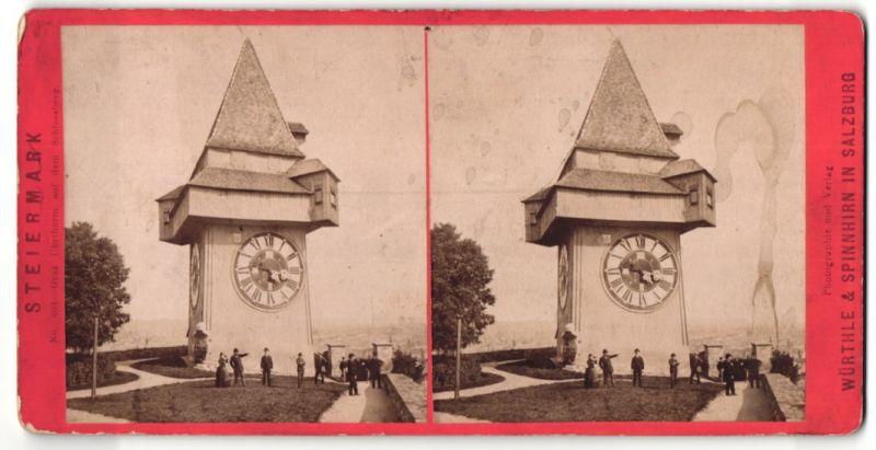 Stereo-Fotografie Würthle & Spinnhirn, Salzburg, Ansicht Graz, Urturm auf dem Schlossberg