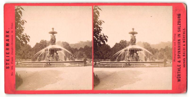 Stereo-Fotografie Würthle & Sohn, Salzburg, Ansicht Graz, Franz Joseph's-Brunnen