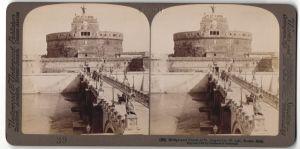 Stereo-Fotografie Underwood & Underwood, London, Ansicht Rom, Brücke und Schloss von St. Angelo