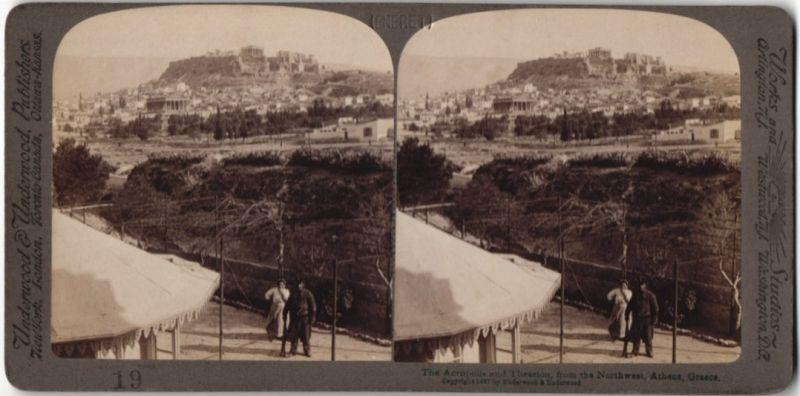 Stereo-Fotografie Underwood & Underwood, London, Ansicht Athen, Akropolis und Theseion