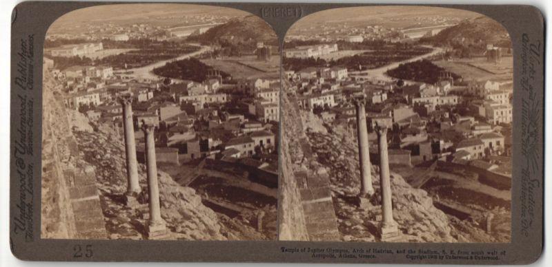 Stereo-Fotografie Underwood & Underwood, London, Ansicht Athen, Tempel des Jupiter auf dem Olymp
