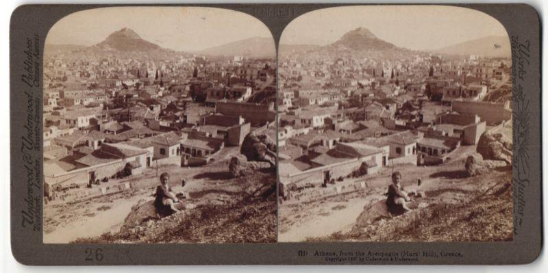 Stereo-Fotografie Underwood & Underwood, London, Ansicht Athen, gesehen von der Areopagus