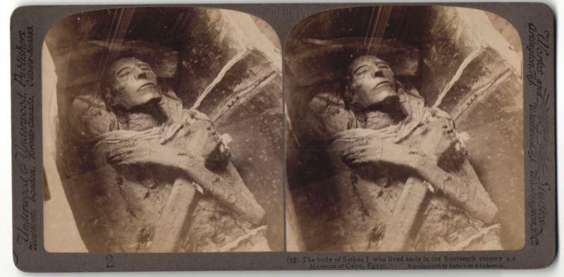 Stereo-Fotografie Underwood & Underwood, London, Ansicht Kairo, Mumie Stehos I.
