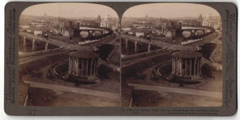 Stereo-Fotografie Underwood & Underwood, London, Ansicht Rom, der alte Tiber mit seinen Inseln