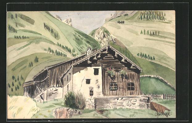 Künstler-AK Handgemalt: Ischgl, Blick auf eine Berghütte vor steilen Hängen