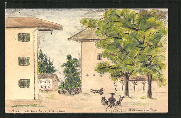 Künstler-AK Handgemalt: Siegsdorf, Ansicht vom Gasthaus zur Post